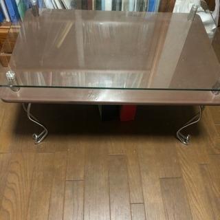 ガラス板付きローテーブル