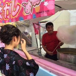 さんぶ桜の森マルシェ で 60cmの巨大綿菓子 花の綿菓子 冷たい...