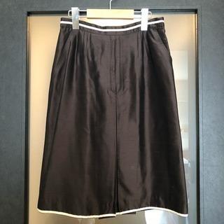 アレッサンドラ・デラクア スカート 膝丈 シルク ダークブラウン 茶色