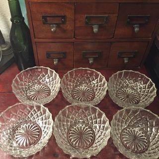 昭和レトロ 正円 カットガラス 深皿 6枚