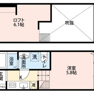 6.1帖の広々ロフトにハンガーパイプ☆ステップフロアがおしゃれな築...