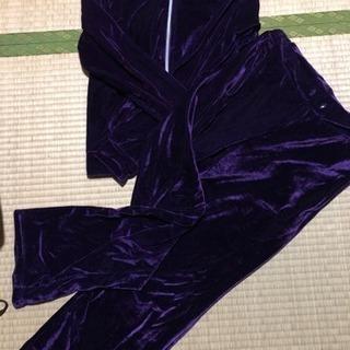 紫 sexyベロア素材 セットアップ