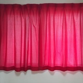 中古品 レッドカーテン4枚セット