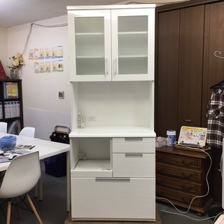 【ニトリ】食器棚 カップボード DAHLIA-80KB-WH 美品