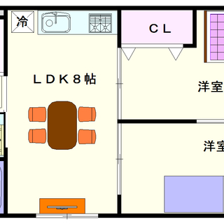 【みのりハイツ】2号タイプ!2LDKタイプ!オール洋室は人気ですね☆