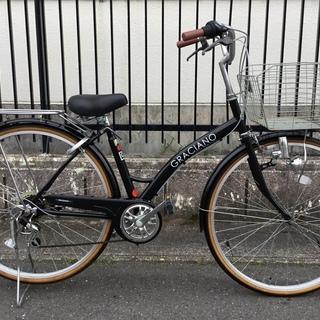 ★お洒落・graciano ・シマノ6段変速・27インチ自転車・ブラック