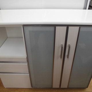 レンジボード キッチンボード ミドルサイズ 腰高 幅120cm 白...