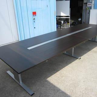フリーアドレステーブル 大会議テーブル ダークブラウン 6枚天板