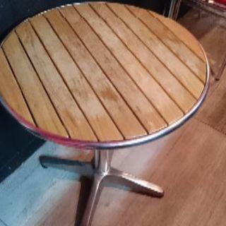 アルミ 木材 テーブル60cm幅、屋外でも