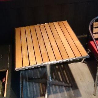 アルミ 木材 テーブル60cm幅 チェアセット、屋外でも