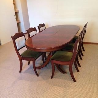 20世紀初頭 英国スタイルダイニングテーブルと椅子6脚