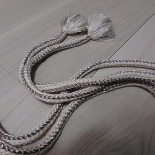 帯締め 丸組 銀と白