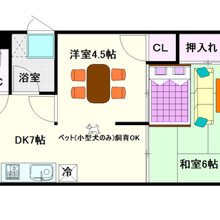 【南海ビル】7号タイプ!2DKタイプ!小型犬飼育OK☆