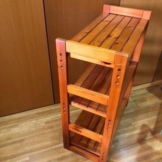 【ウッドシェルフ】【木製棚】【3段】【高さ調節可】【(国分寺)現地手渡し】 - 家具