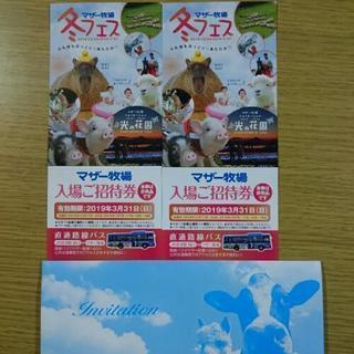 マザー牧場 無料招待券 2枚で1000円です