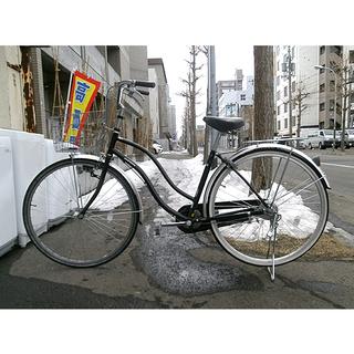 札幌【27インチ自転車③ ママチャリ】変速ナシ ブラック/黒色系...