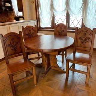 ダイニングテーブル セット 木製 円形 4人掛け 楕円形 広がり...