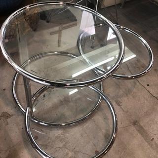 ガラステーブル 3連