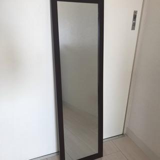 ミラー 鏡 木枠ブラウン 高さ90cm