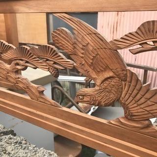 立派な木彫りの和室の梁に飾るワシ鷲?の木彫りの欄間装飾品2枚セット