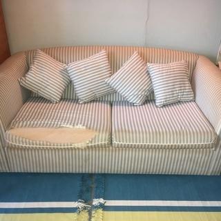 布張りソファーベッド 背当てクッション4個付き2〜3人がけ