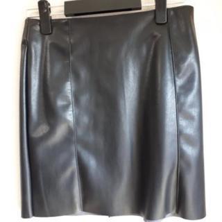 スカート黒合皮
