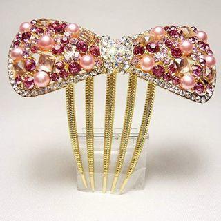 ピンクのリボン型髪飾り ビジュー、パール − 東京都