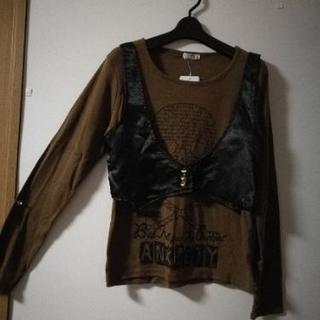 黒ベスト付き Tシャツ L