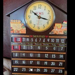 カレンダーつき  カントリー調時計