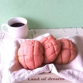 【4月こねパン】春色イチゴのメロンパン