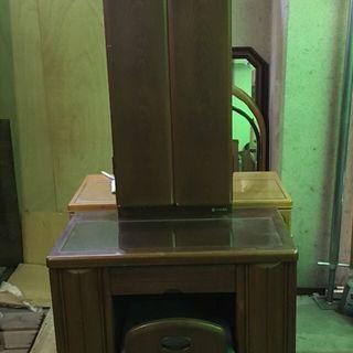 木製 ドレッサー 鏡台 三面鏡 椅子付 幅70cm×奥行39cm×...