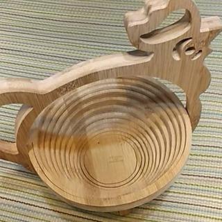未使用 ニワトリ型の竹かご