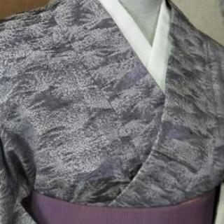 👘正絹 紬 薄墨 ラベンダー色 ★ Sサイズ