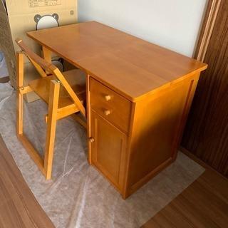 美品‼️学習デスク 椅子セット 木製 折りたたみ式 省スペース シ...