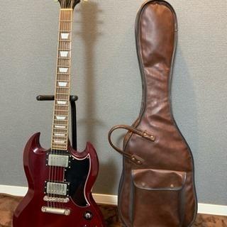 EDWARDSギターSG赤木目ケース付き