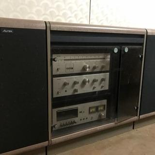 AUREX FM/AMチューナー、アンプ、カセットデッキ、スピーカ...