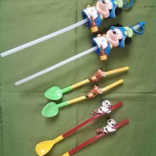 ディズニーのスプーンストロー、ペットボトルキャップ3種類セット