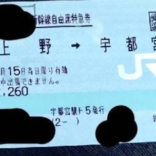 新幹線 上野→宇都宮 4月15日 受付は11日(木)まで