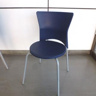 PayPay可 手稲リサイクル 背もたれ付き 丸椅子 ブルー 1...