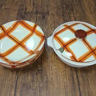 キャセロールと大皿5枚/昭和レトロ