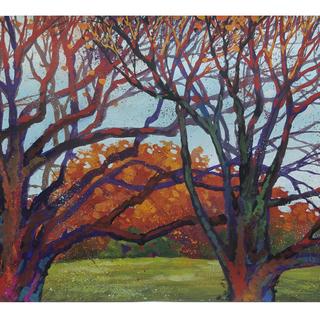 『昭和記念公園の秋』風景 肉筆絵