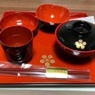 会津塗り 新品 会津漆器 セットお盆 お椀 小皿など お食い初め