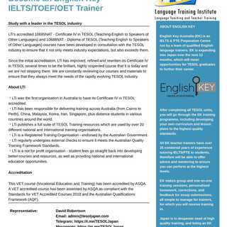 English Teacher School Kagoshima- オーストラリア政府認定の Certificate Ⅳ in TESOL - Kagoshima - Online - 鹿児島市