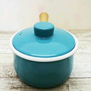 新品 廃盤色 富士ホーロー 蓋付き ミルクパン ライトブルー 水色  IH ガス ラジエント 対応 - 生活雑貨