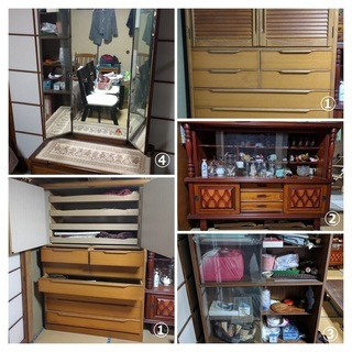 昭和の家具たち(和ダンス、文机、サイドボード、鏡台、書棚、クローゼ...
