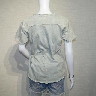 カットオフ  貼り合わせ縫製 ストーンウォッシュ加工 UネックTシャツ − 北海道