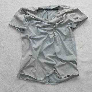カットオフ  貼り合わせ縫製 ストーンウォッシュ加工 UネックTシャツ - 売ります・あげます