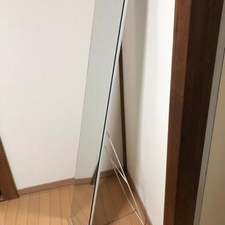【取りに来られる方限定】スタンドミラー ホワイト 幅30cm×奥...