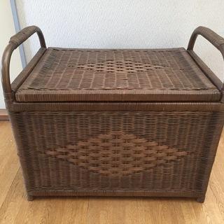 籐 籠収納ボックス フタ付き かご バスケット  2個組 未使用品