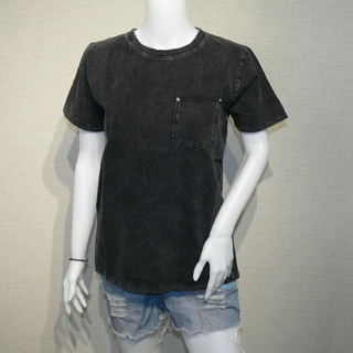 ポケットデザイン ストーンウォッシュ加工 UネックTシャツ